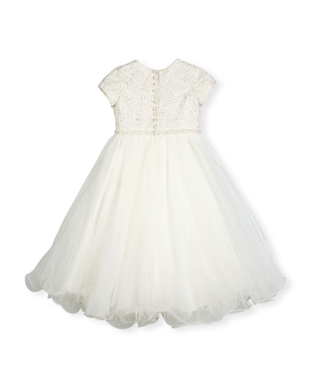 Cap-Sleeve Lace & Tulle Special Occasion Dress, Ivory, Size 4-14