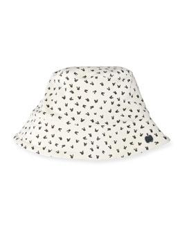Reversible Bunny-Print Baby Bucket Hat, Gray/White