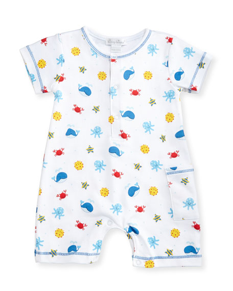 Deep Sea Delight Printed Pima Shortall, Blue/White, Size 3-24 Months