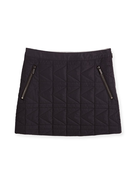 Karl Lagerfeld Quilted Zip-Trim Mini Skirt, Black, Size