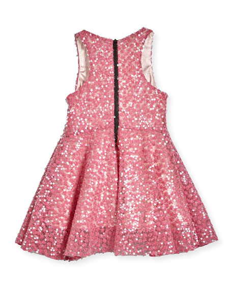 Sequined Racerback Circle Dress, Pink, Size 4-7