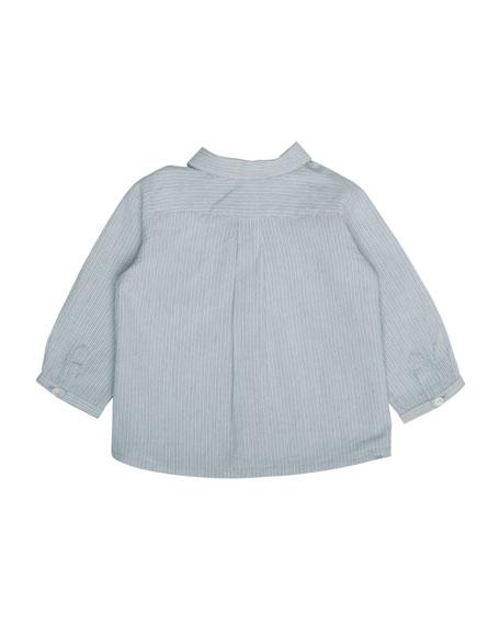 Long-Sleeve Striped Cotton Shirt, Blue, Size 6M-2