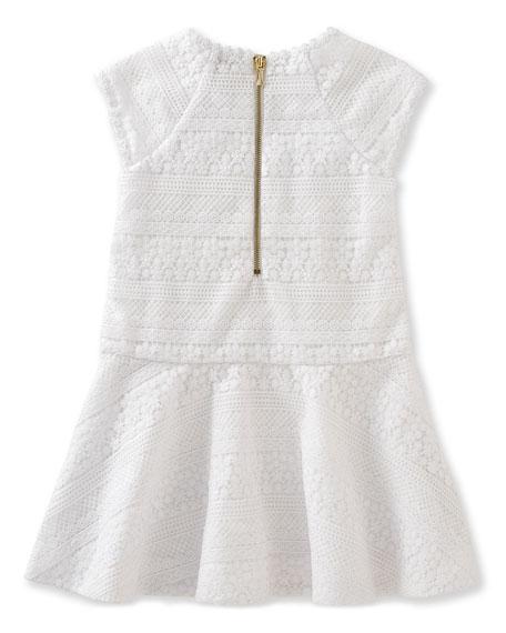 mixed-lace raglan circle dress, white, size 7-14