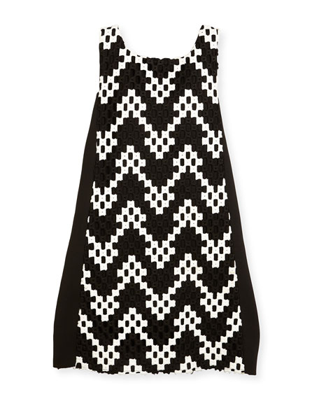 Riley Sleeveless Colorblock Chevron Shift Dress, Black/White, Size 7-16