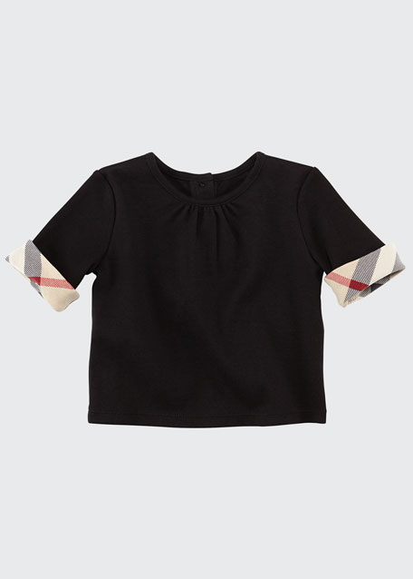Burberry Check-Cuff Jersey Tee, Black, 3-18 Months