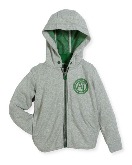 Hooded Melange Zip-Front Jacket, Gray, Size 4-12
