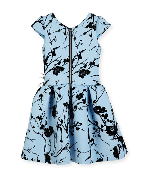 Sky Silhouette Box-Pleated Dress, Size 2-6X