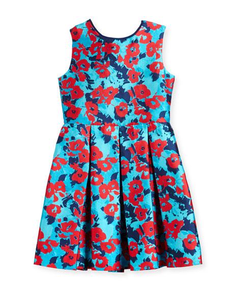 Floral Mikado Dress, Blue, Size 2-14