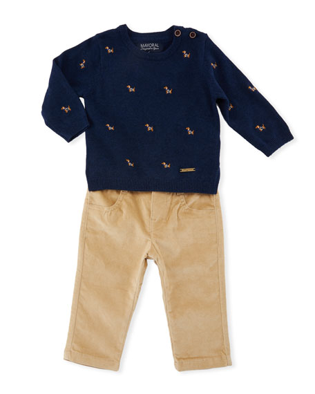 Dog Embroidery Sweater w/ Pants, Size 6-36 Months