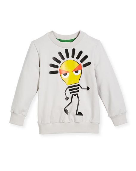 Boy's Long-Sleeve Light Bulb Sweatshirt, Size 3-5