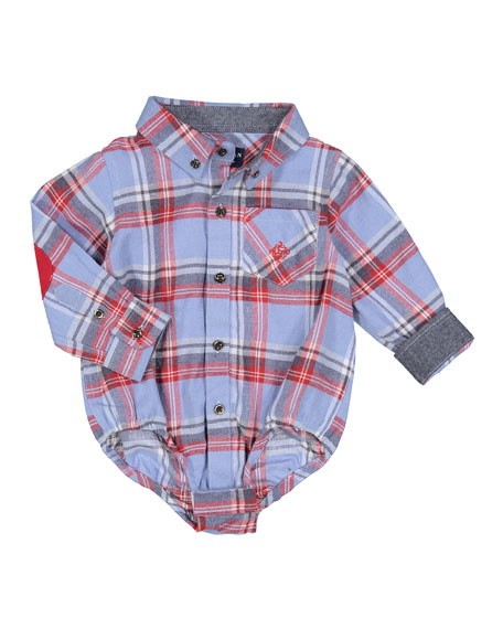 Plaid Flannel Patched-Elbow Shirt, Size 3-24 Months