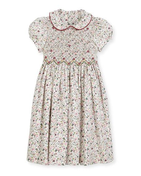 Cap-Sleeve Floral Smocked Dress, Size 2-6X