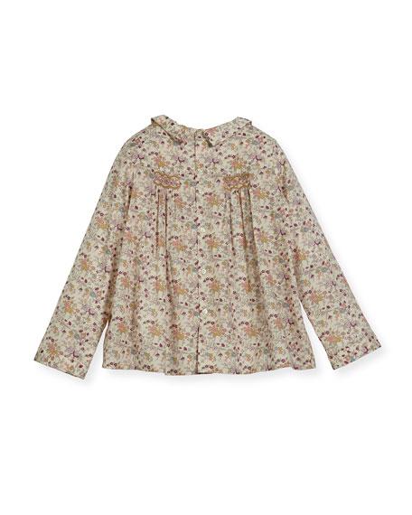 Floral-Print Smocked Blouse, Size 3-8