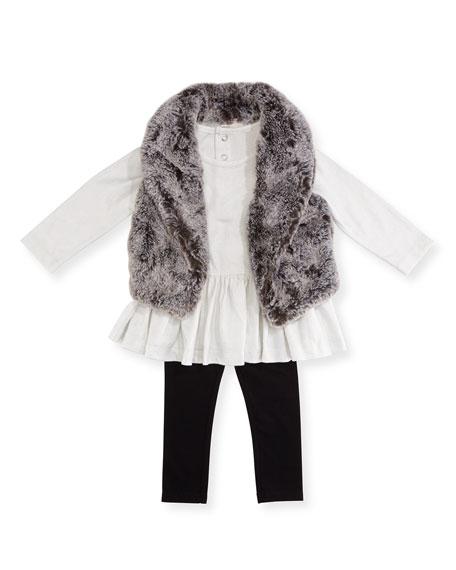 Miniclasix Faux-Fur Vest, Top & Leggings Layette Set,