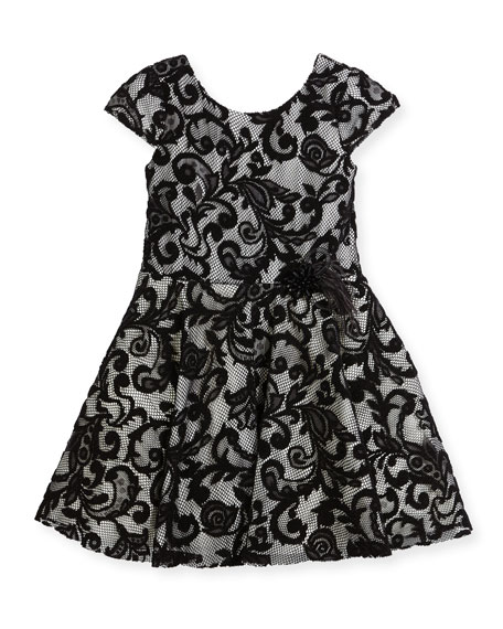 Lovely Lace Contrast Overlay Dress, Size 2-6X