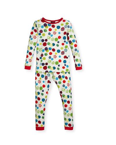 Printed Two-Piece Pajama Set, Cream, Size 10-12