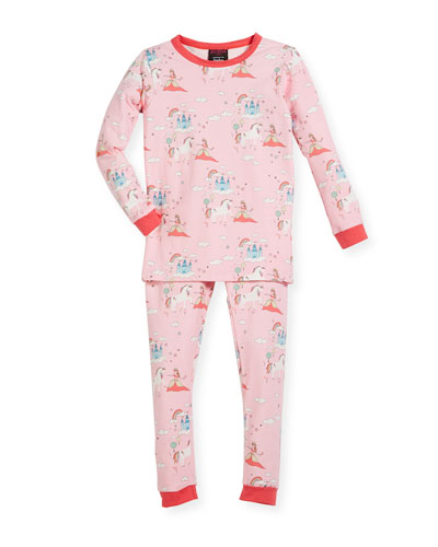 Unicorn-Princess-Print Pajama Set, Size 10-12