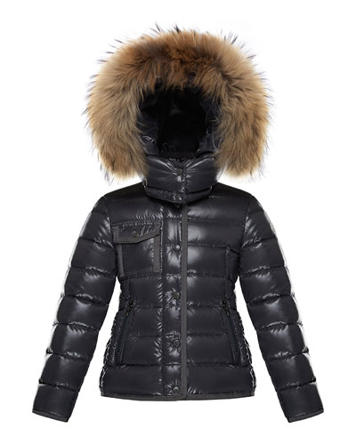 Armoise Mini Me Jacket w/ Fur-Trim Hood, Size 8-14