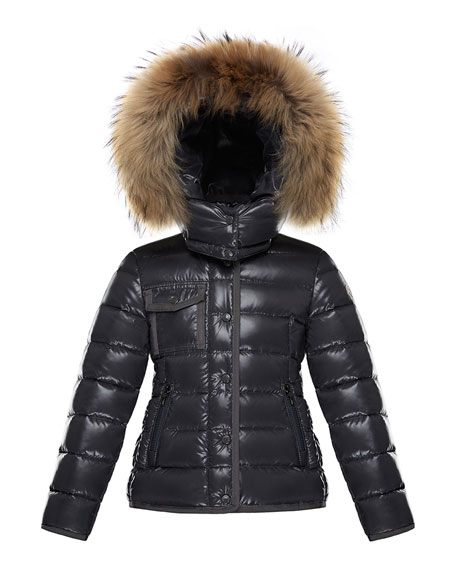 Moncler Armoise Mini Me Jacket w/ Fur-Trim Hood,
