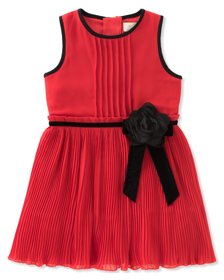girls' pleated chiffon dress, size 2-6