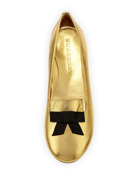 Ally Metallic Leather Loafer w/ Bow, Gold, Youth