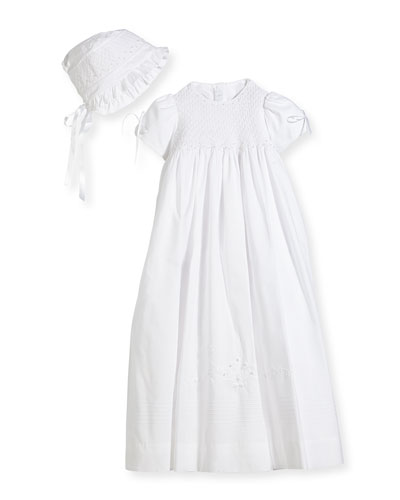Pearls Smock Embroidered Cotton Christening Gown w/ Bonnet  White  Size 6-12 Months