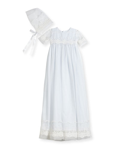 Blessing Embroidered Tulle Extra-Long Christening Gown w/ Bonnet  White  6-12 Months