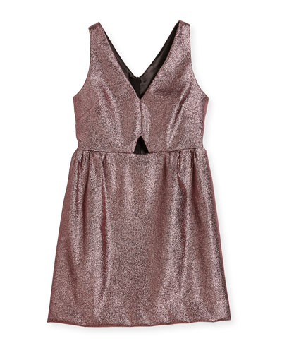 Sam V-Neck Cutout Stretch-Lurex® Dress, Size 8-16