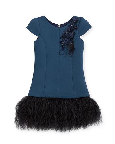 Feather Flounce Drop-Waist Dress, Size 7-16