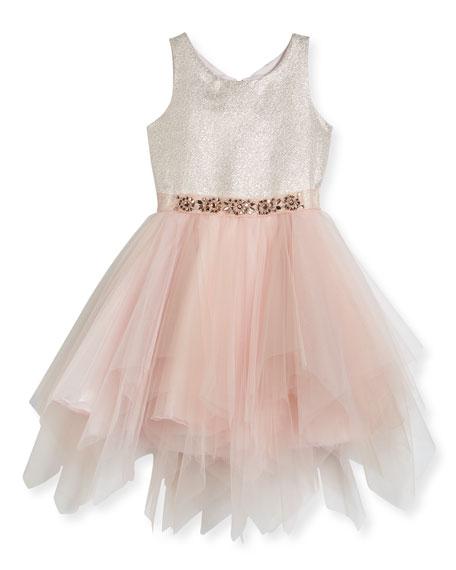 Metallic Tulle-Skirt Dress, Size 7-16