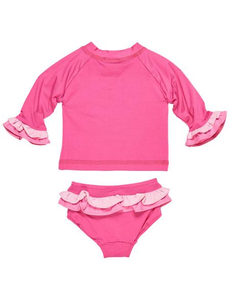 Two-Piece Flower Ruffle Rashgaurd Swimsuit, Size 6-24 Months