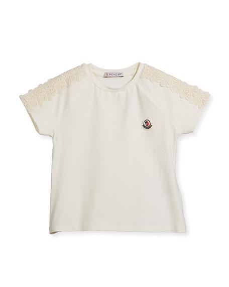 Moncler Maglia Short-Sleeve T-Shirt w/ Lace Trim, Size