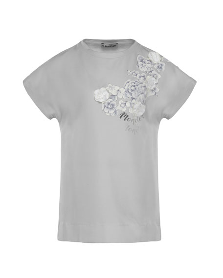 Moncler Maglia Flower & Logo Short-Sleeve T-Shirt, Size