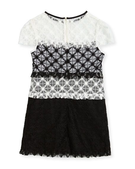 Gabrielle Short-Sleeve Colorblock Lace Dress, Size 8-16