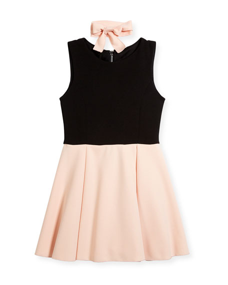 Sleeveless Swing Dress, Black/Pink, Size 7-16