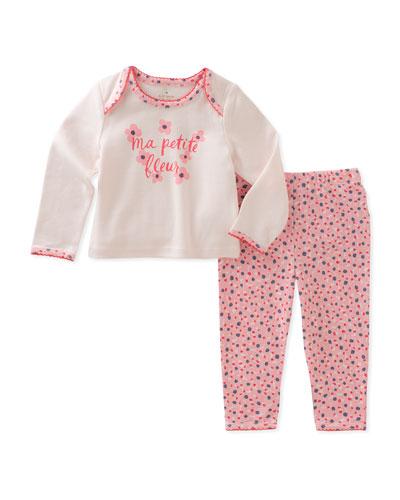 ma petit fleur mini-floral print pajama set, size 3-9 months