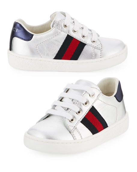Gucci New Ace Metallic Leather Sneaker, Toddler