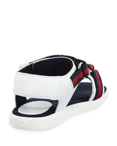 Leather Grip-Strap Sandal w/ Web Trim, Toddler