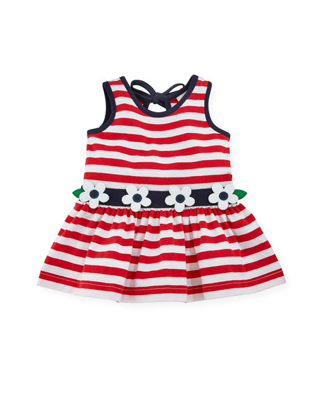 Stripe Knit Sleeveless Dress w/ Flower Detail, Size 3-24 Months
