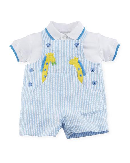 Seersucker Giraffe Overalls w/ Polo Shirt, Size 3-24 Months