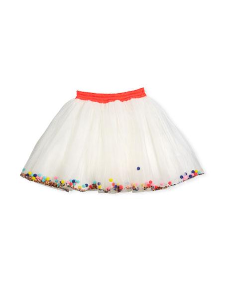 Tulle Pompom & Sequin Skirt, Size 4-8