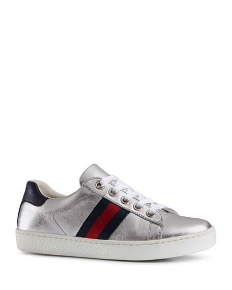 Gucci New Ace Metallic Leather Web Sneakers, Kids