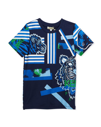 Multi-Icon Tiger Striped T-Shirt, Navy, Size 14-16