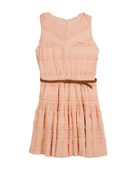 Knit Lace Sleeveless Dress w/ Belt, Size 8-16