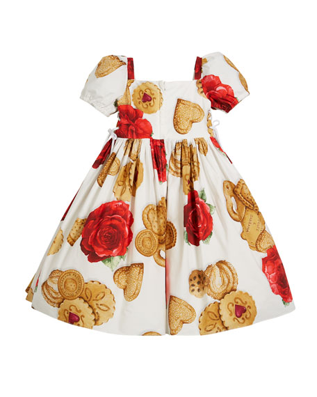 Biscuit & Roses Puffy-Sleeve Dress, Size 4-6