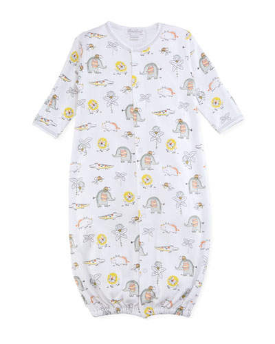 Jungle Jamboree Printed Convertible Pima Gown, Size Newborn-Small