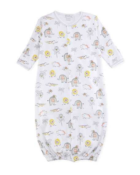 Jungle Jamboree Printed Convertible Pima Gown, Size Newborn-Small