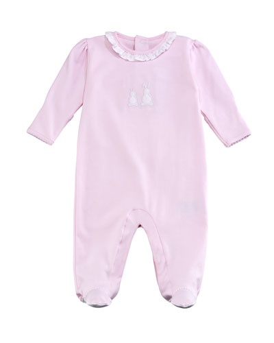 Pique Bunny Ears Ruffle-Collar Footie Playsuit, Pink, Size 0-9 Months