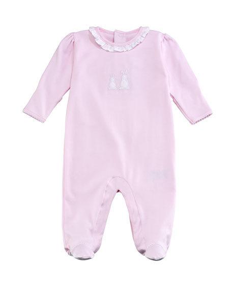 Kissy Kissy Pique Bunny Ears Ruffle-Collar Footie Pajamas,
