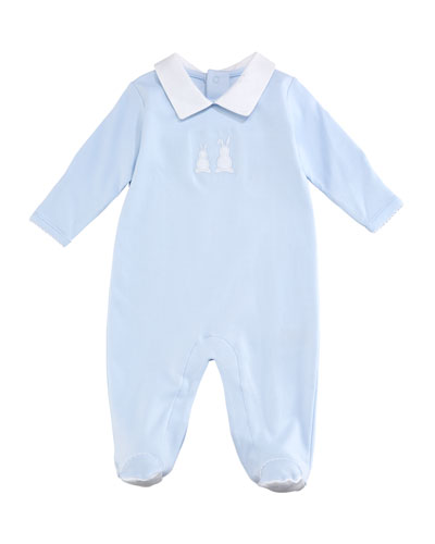Pique Bunny Ears Collared Footie Playsuit, Blue, Size 0-9 Months